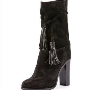 LANVIN Blk Suede Midcalf Tassel-Tie Boots 37.5 NWT